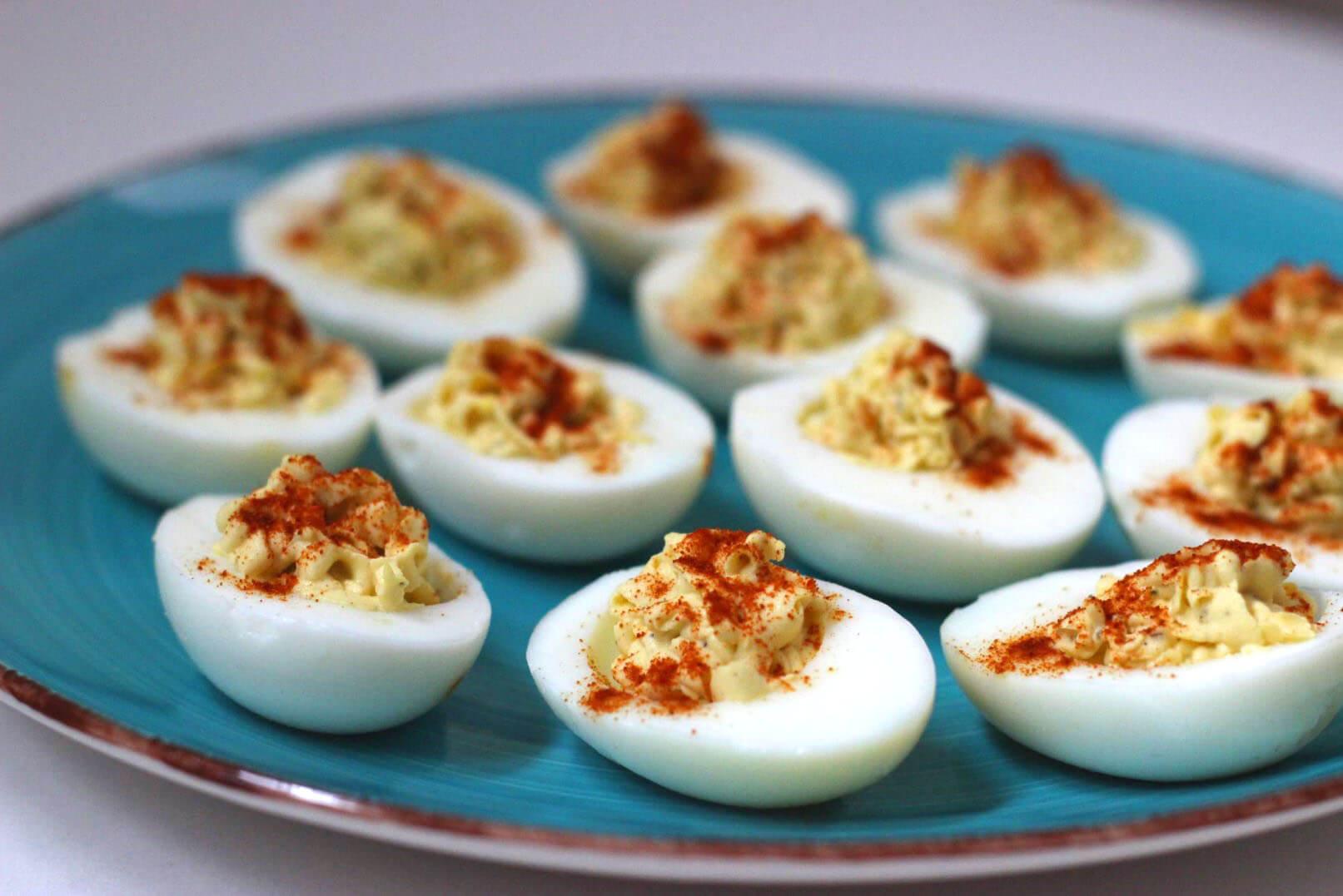 Skinny Wasabi Deviled Eggs